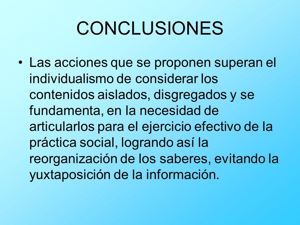 CONCLUSIONES Las acciones que se proponen superan el individualismo de considerar los contenidos aislados, disgregados y se fundamenta, en la necesida