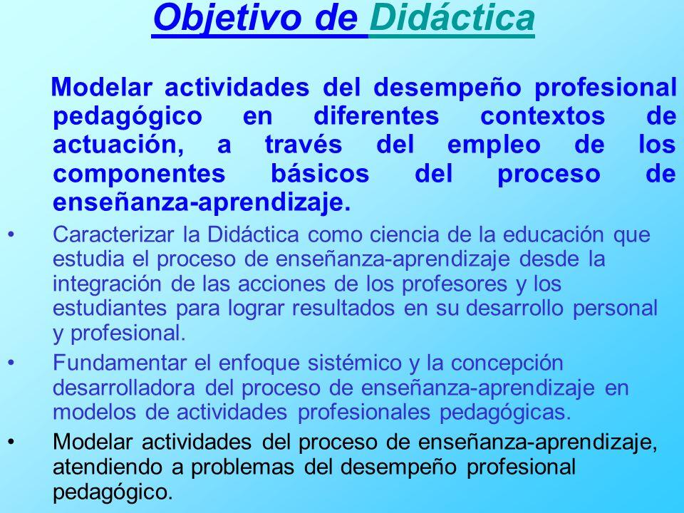 Objetivo de DidácticaDidáctica Modelar actividades del desempeño profesional pedagógico en diferentes contextos de actuación, a través del empleo de l