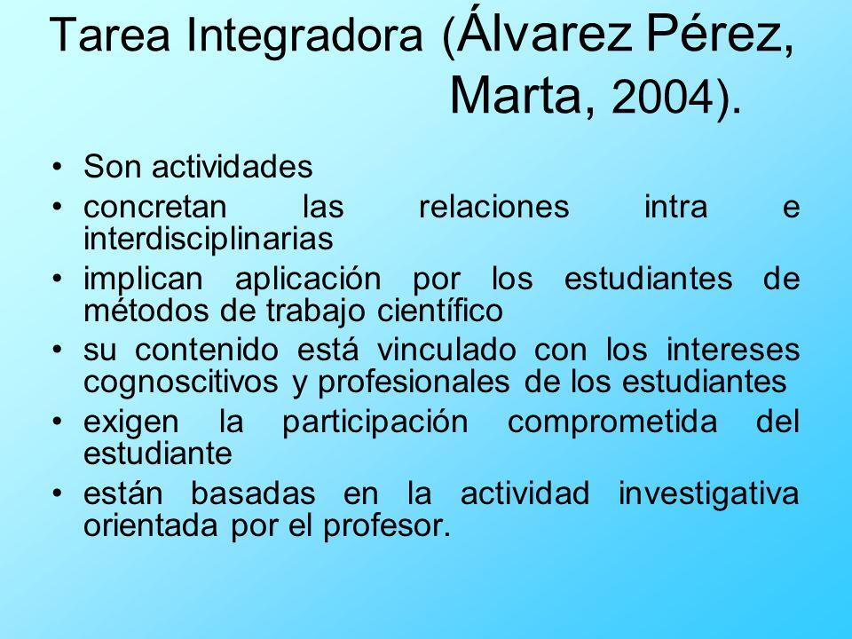 Tarea Integradora ( Álvarez Pérez, Marta, 2004). Son actividades concretan las relaciones intra e interdisciplinarias implican aplicación por los estu