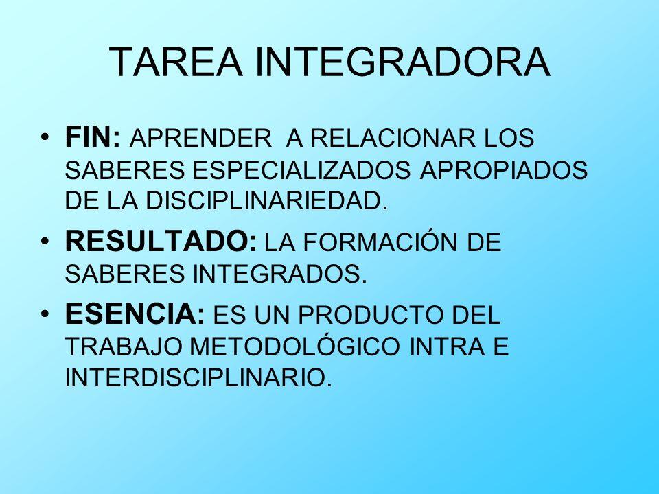 TAREA INTEGRADORA FIN: APRENDER A RELACIONAR LOS SABERES ESPECIALIZADOS APROPIADOS DE LA DISCIPLINARIEDAD. RESULTADO: LA FORMACIÓN DE SABERES INTEGRAD