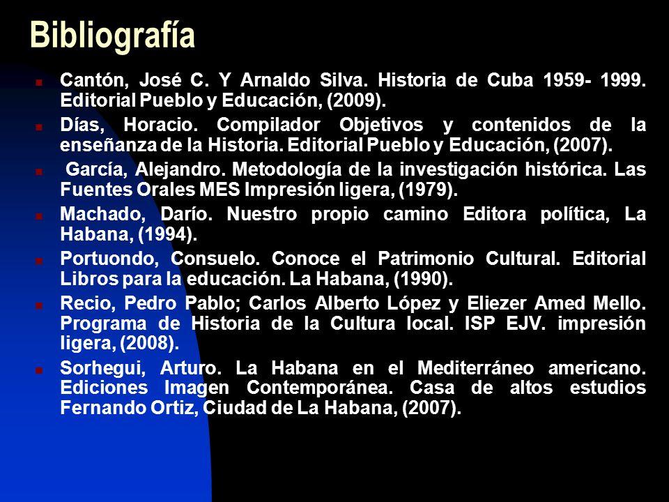 Bibliografía Cantón, José C. Y Arnaldo Silva. Historia de Cuba 1959- 1999.