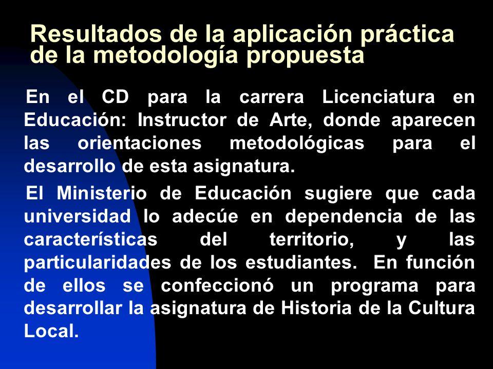 Resultados de la aplicación práctica de la metodología propuesta En el CD para la carrera Licenciatura en Educación: Instructor de Arte, donde aparecen las orientaciones metodológicas para el desarrollo de esta asignatura.