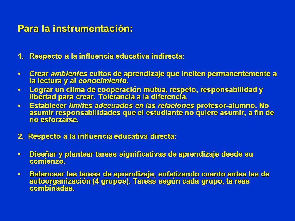 Para la instrumentación: 1.Respecto a la influencia educativa indirecta: Crear ambientes cultos de aprendizaje que inciten permanentemente a la lectur