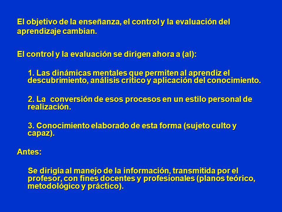 El objetivo de la enseñanza, el control y la evaluación del aprendizaje cambian. El control y la evaluación se dirigen ahora a (al): 1. Las dinámicas