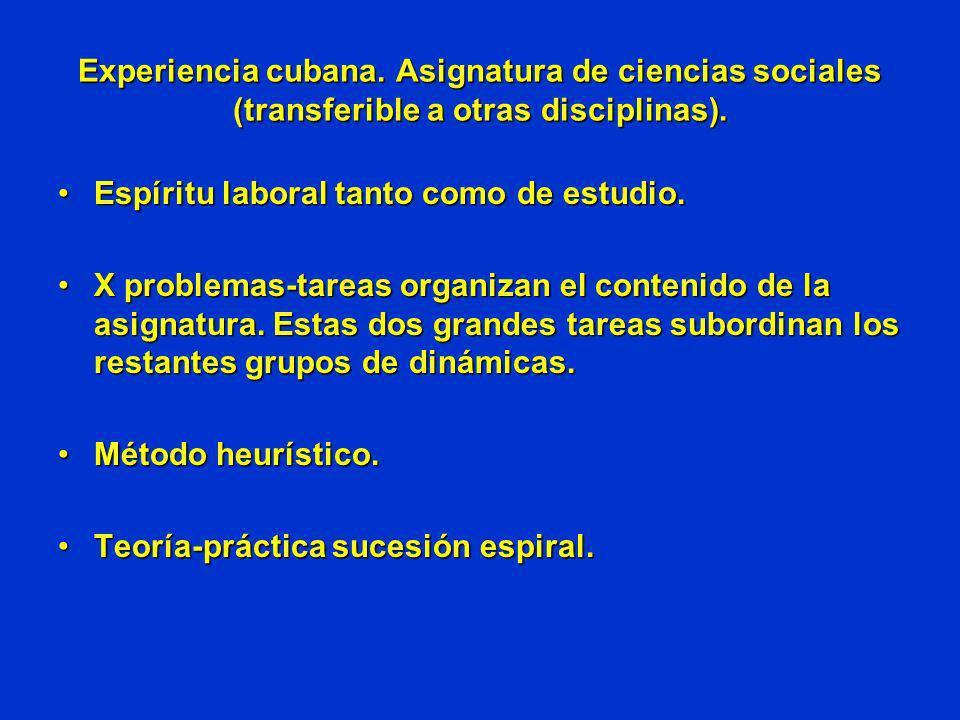 Experiencia cubana. Asignatura de ciencias sociales (transferible a otras disciplinas). Espíritu laboral tanto como de estudio.Espíritu laboral tanto
