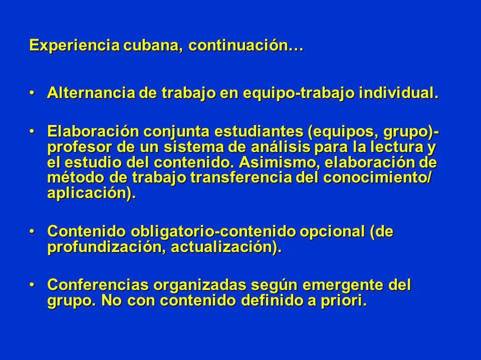 Experiencia cubana, continuación… Alternancia de trabajo en equipo-trabajo individual.Alternancia de trabajo en equipo-trabajo individual. Elaboración