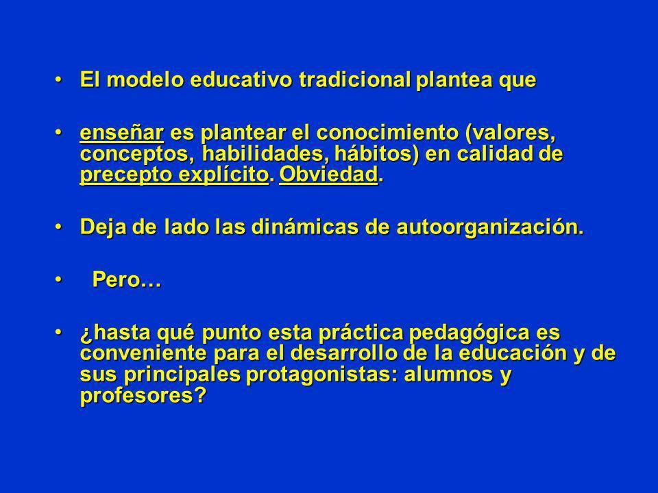 El modelo educativo tradicional plantea queEl modelo educativo tradicional plantea que enseñar es plantear el conocimiento (valores, conceptos, habili