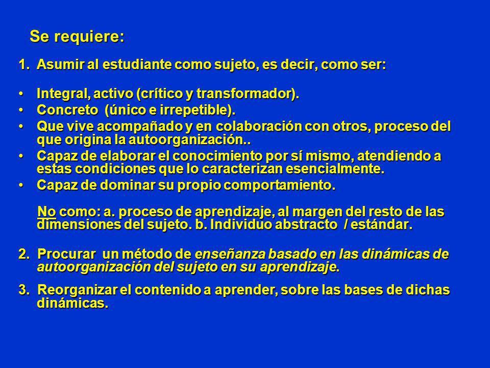 Se requiere: 1.Asumir al estudiante como sujeto, es decir, como ser: Integral, activo (crítico y transformador).Integral, activo (crítico y transforma