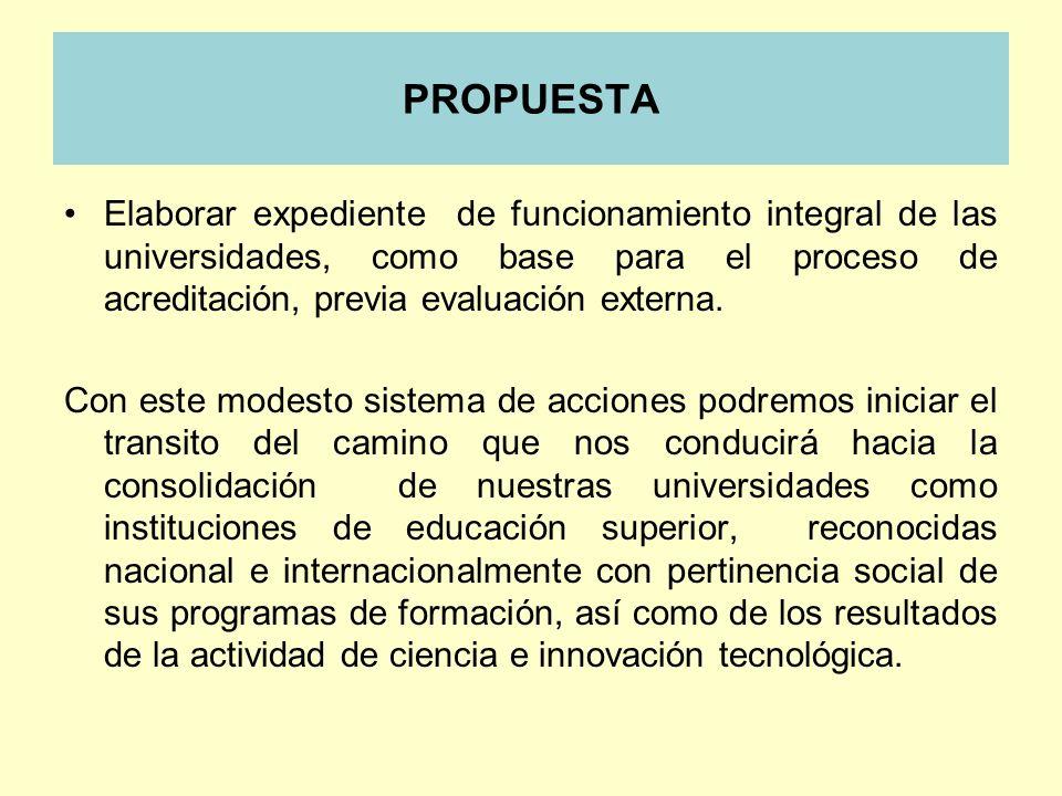 PROPUESTA Elaborar expediente de funcionamiento integral de las universidades, como base para el proceso de acreditación, previa evaluación externa. C