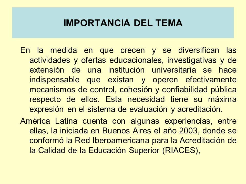 IMPORTANCIA DEL TEMA En la medida en que crecen y se diversifican las actividades y ofertas educacionales, investigativas y de extensión de una instit