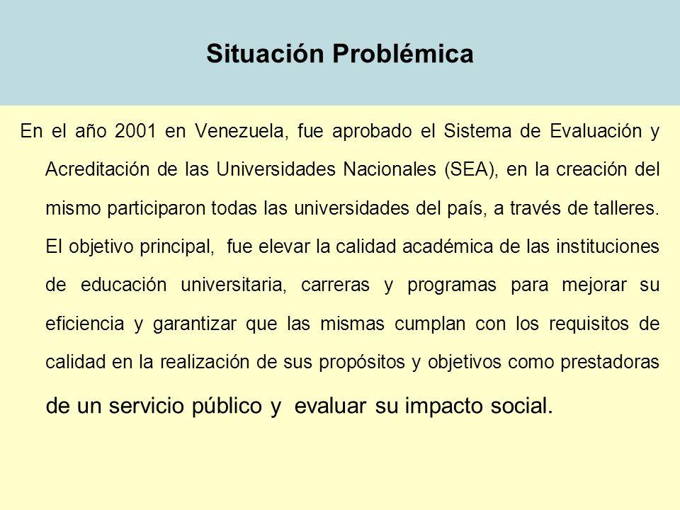 Situación Problémica En el año 2001 en Venezuela, fue aprobado el Sistema de Evaluación y Acreditación de las Universidades Nacionales (SEA), en la cr
