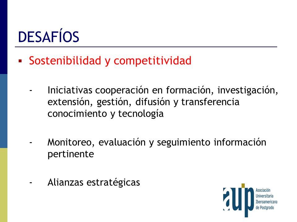 DESAFÍOS Sostenibilidad y competitividad -Iniciativas cooperación en formación, investigación, extensión, gestión, difusión y transferencia conocimien