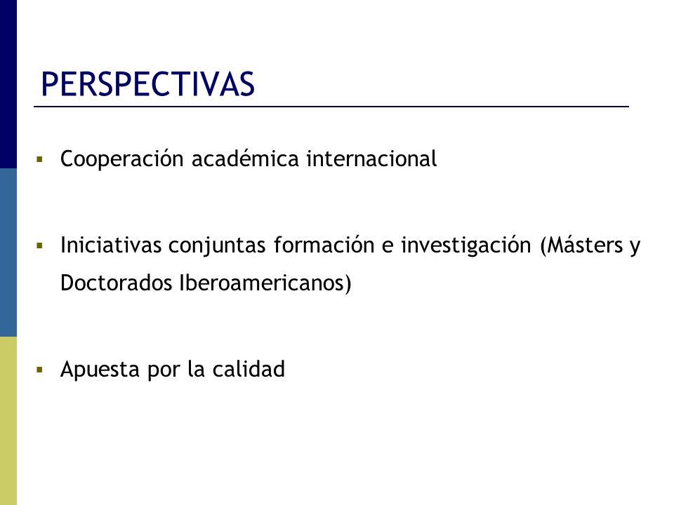PERSPECTIVAS Cooperación académica internacional Iniciativas conjuntas formación e investigación (Másters y Doctorados Iberoamericanos) Apuesta por la