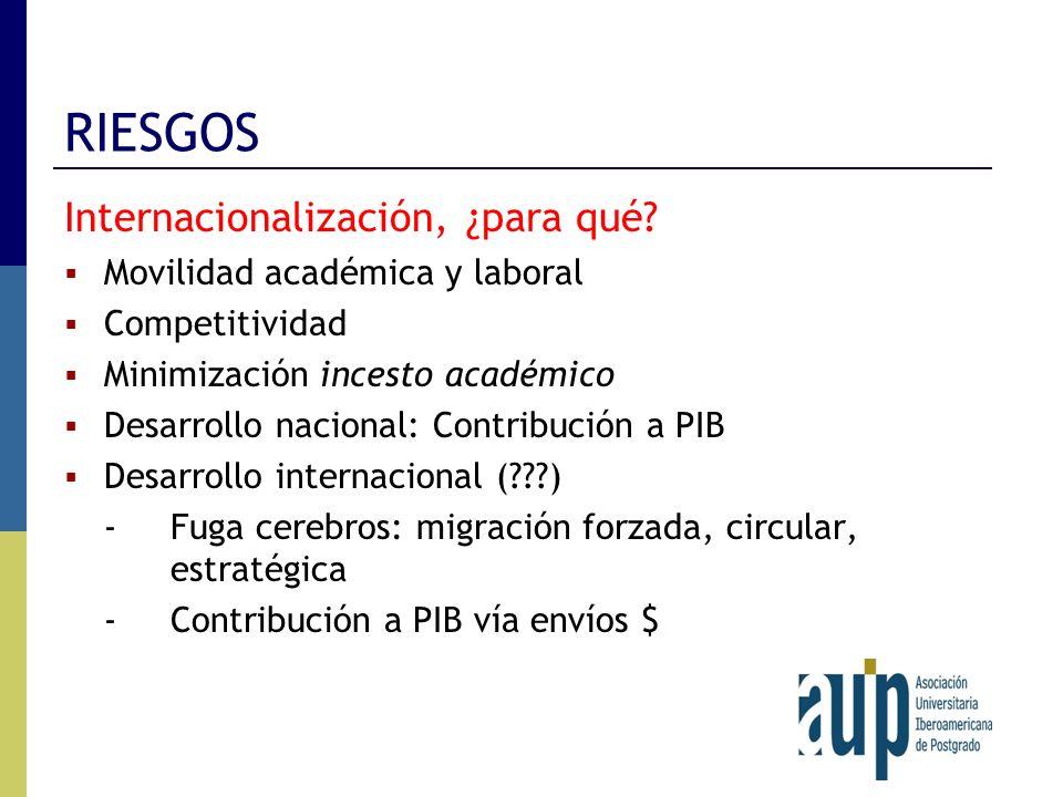 RIESGOS Internacionalización, ¿para qué? Movilidad académica y laboral Competitividad Minimización incesto académico Desarrollo nacional: Contribución