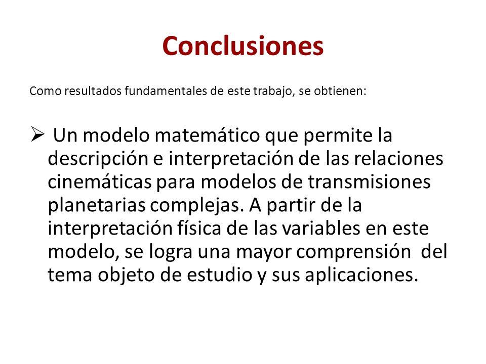 Conclusiones Como resultados fundamentales de este trabajo, se obtienen: Un modelo matemático que permite la descripción e interpretación de las relac