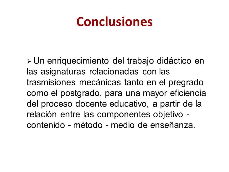 Conclusiones Un enriquecimiento del trabajo didáctico en las asignaturas relacionadas con las trasmisiones mecánicas tanto en el pregrado como el post