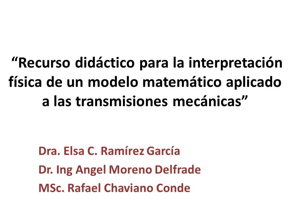 Recurso didáctico para la interpretación física de un modelo matemático aplicado a las transmisiones mecánicas Dra. Elsa C. Ramírez García Dr. Ing Ang