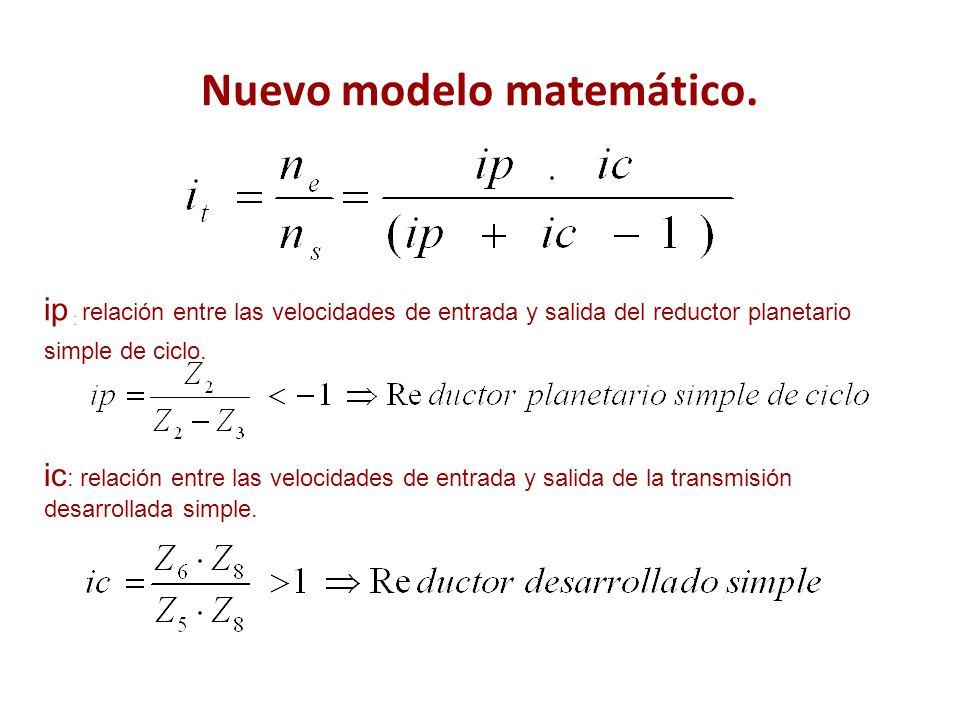 Nuevo modelo matemático. ip : relación entre las velocidades de entrada y salida del reductor planetario simple de ciclo. ic : relación entre las velo