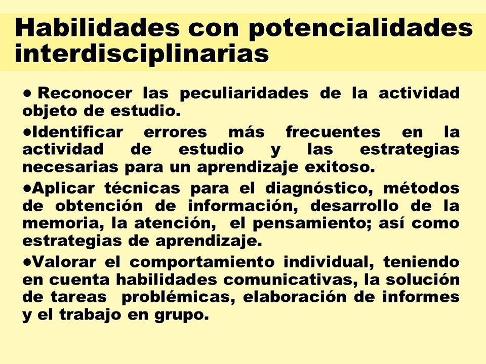 Habilidades con potencialidades interdisciplinarias Reconocer las peculiaridades de la actividad objeto de estudio. Reconocer las peculiaridades de la