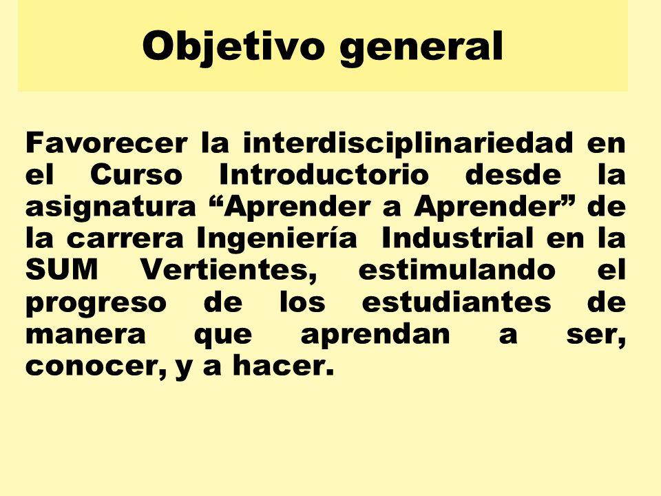 Objetivo general Favorecer la interdisciplinariedad en el Curso Introductorio desde la asignatura Aprender a Aprender de la carrera Ingeniería Industr