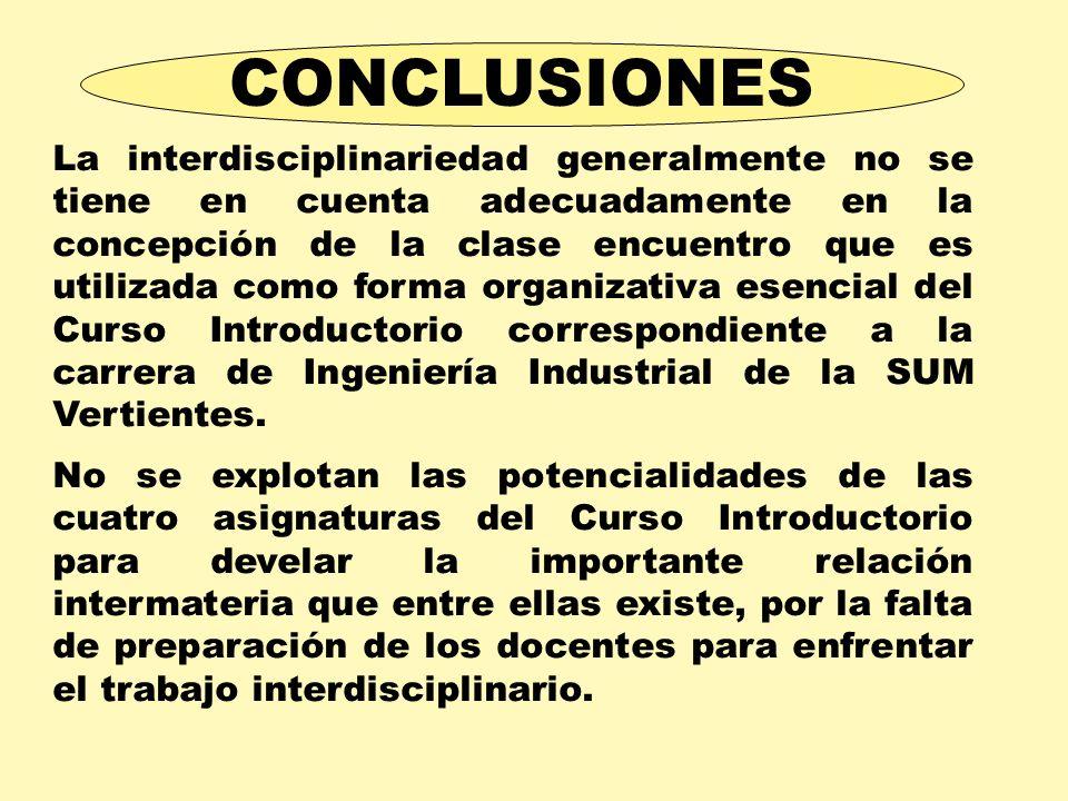 La interdisciplinariedad generalmente no se tiene en cuenta adecuadamente en la concepción de la clase encuentro que es utilizada como forma organizat