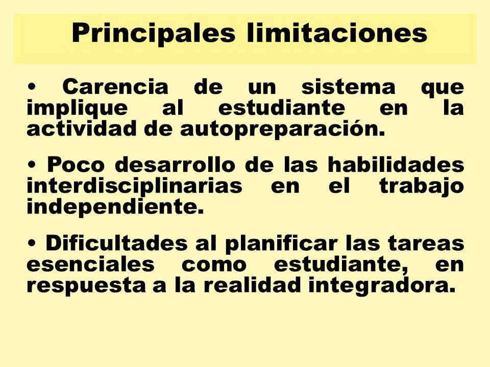 Principales limitaciones Carencia de un sistema que implique al estudiante en la actividad de autopreparación. Poco desarrollo de las habilidades inte