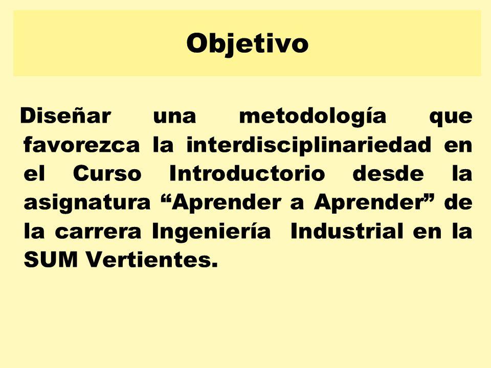 Diseñar una metodología que favorezca la interdisciplinariedad en el Curso Introductorio desde la asignatura Aprender a Aprender de la carrera Ingenie