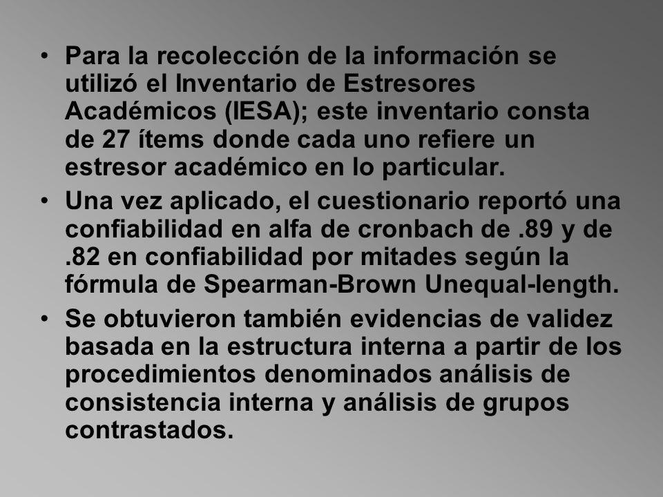 Para la recolección de la información se utilizó el Inventario de Estresores Académicos (IESA); este inventario consta de 27 ítems donde cada uno refi