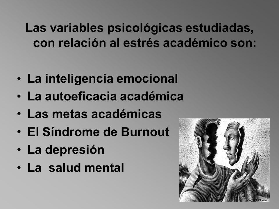 Las variables psicológicas estudiadas, con relación al estrés académico son: La inteligencia emocional La autoeficacia académica Las metas académicas