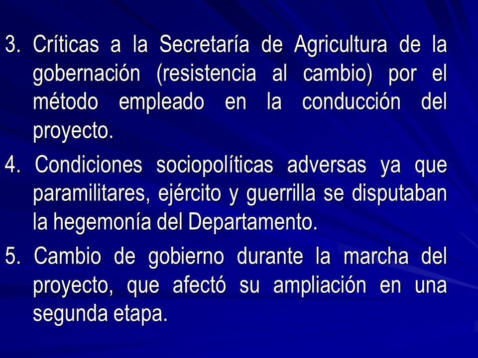 3. Críticas a la Secretaría de Agricultura de la gobernación (resistencia al cambio) por el método empleado en la conducción del proyecto. 4. Condicio