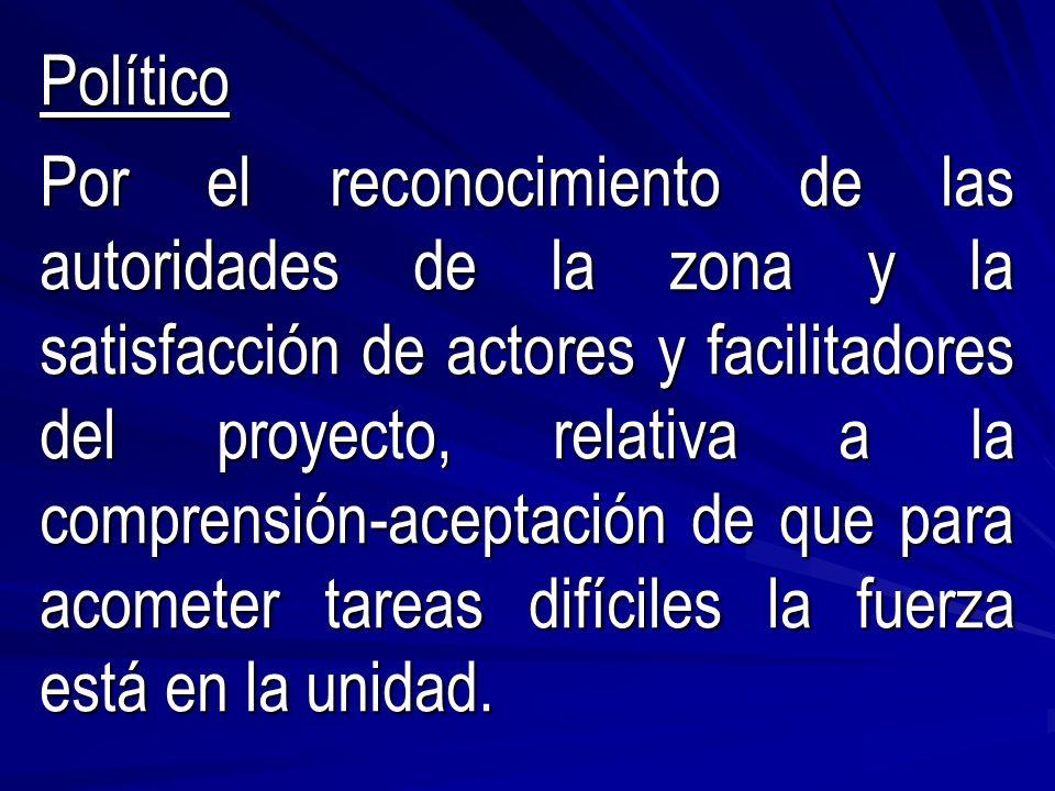Político Por el reconocimiento de las autoridades de la zona y la satisfacción de actores y facilitadores del proyecto, relativa a la comprensión-aceptación de que para acometer tareas difíciles la fuerza está en la unidad.