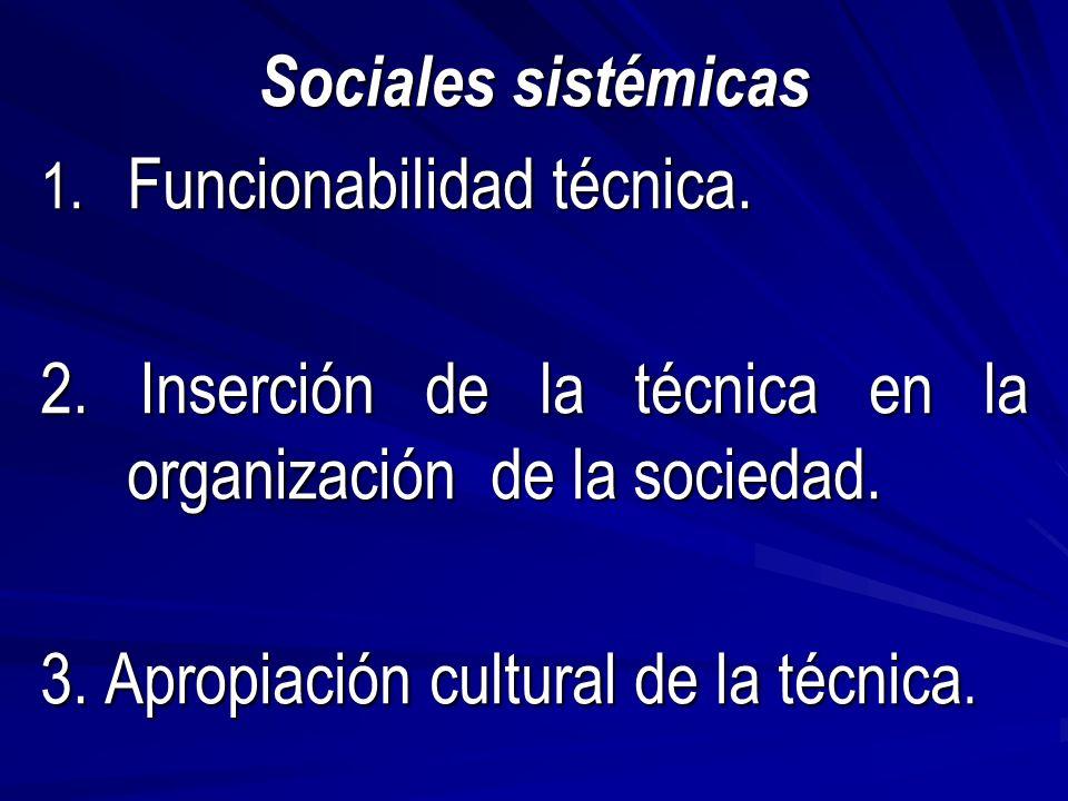 Sociales sistémicas 1. Funcionabilidad técnica. 2.
