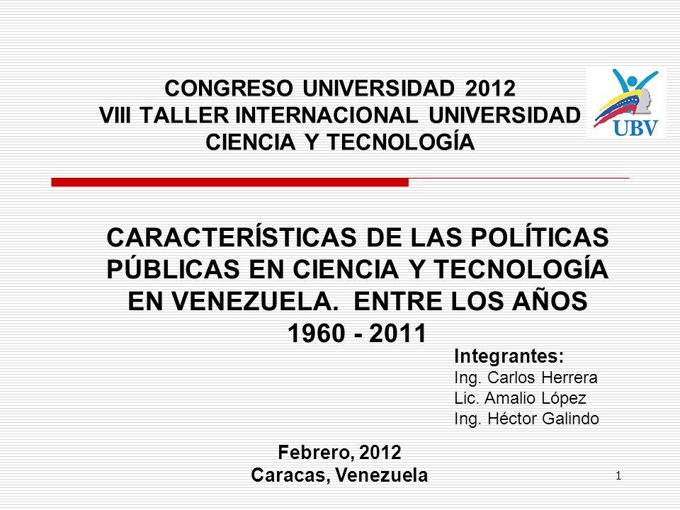 CONGRESO UNIVERSIDAD 2012 VIII TALLER INTERNACIONAL UNIVERSIDAD CIENCIA Y TECNOLOGÍA CARACTERÍSTICAS DE LAS POLÍTICAS PÚBLICAS EN CIENCIA Y TECNOLOGÍA