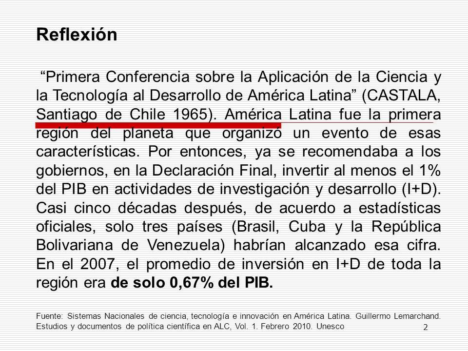 Reflexión Primera Conferencia sobre la Aplicación de la Ciencia y la Tecnología al Desarrollo de América Latina (CASTALA, Santiago de Chile 1965). Amé