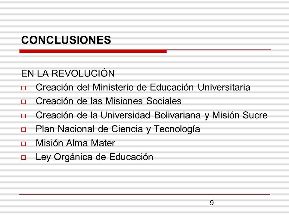 CONCLUSIONES EN LA REVOLUCIÓN Creación del Ministerio de Educación Universitaria Creación de las Misiones Sociales Creación de la Universidad Bolivari
