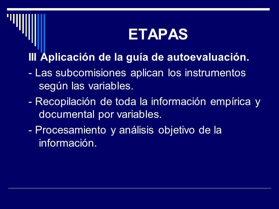 ETAPAS III Aplicación de la guía de autoevaluación. - Las subcomisiones aplican los instrumentos según las variables. - Recopilación de toda la inform