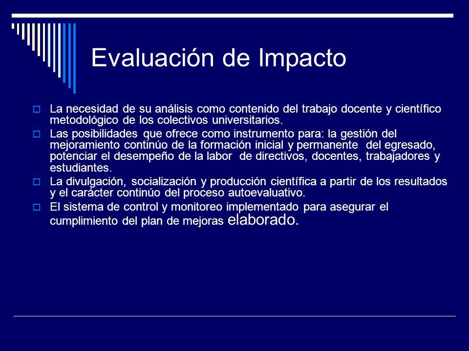 Evaluación de Impacto La necesidad de su análisis como contenido del trabajo docente y científico metodológico de los colectivos universitarios. Las p