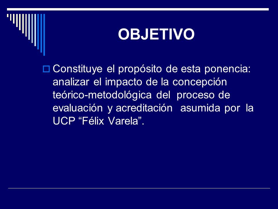 OBJETIVO Constituye el propósito de esta ponencia: analizar el impacto de la concepción teórico-metodológica del proceso de evaluación y acreditación