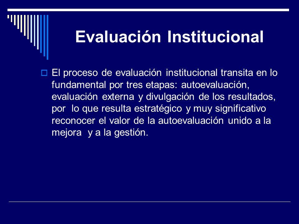 Evaluación Institucional El proceso de evaluación institucional transita en lo fundamental por tres etapas: autoevaluación, evaluación externa y divul