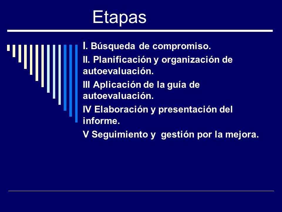 Etapas I. Búsqueda de compromiso. II. Planificación y organización de autoevaluación. III Aplicación de la guía de autoevaluación. IV Elaboración y pr