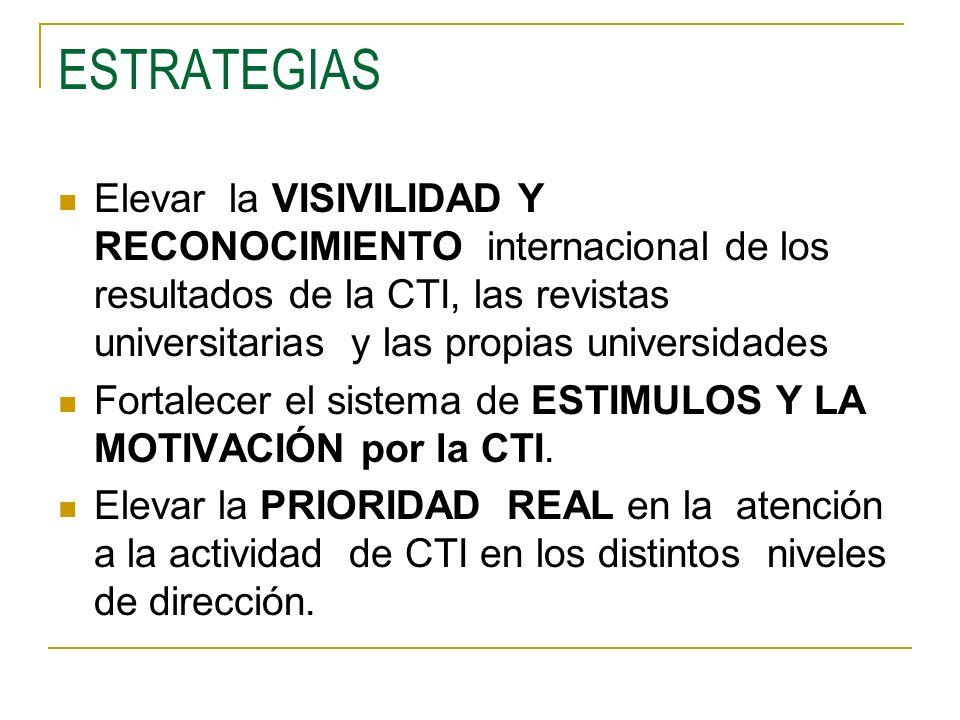 ESTRATEGIAS Elevar la VISIVILIDAD Y RECONOCIMIENTO internacional de los resultados de la CTI, las revistas universitarias y las propias universidades