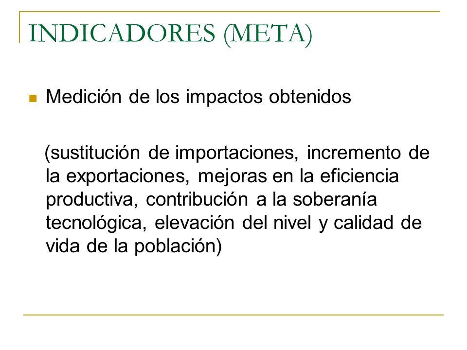 INDICADORES (META) Medición de los impactos obtenidos (sustitución de importaciones, incremento de la exportaciones, mejoras en la eficiencia producti