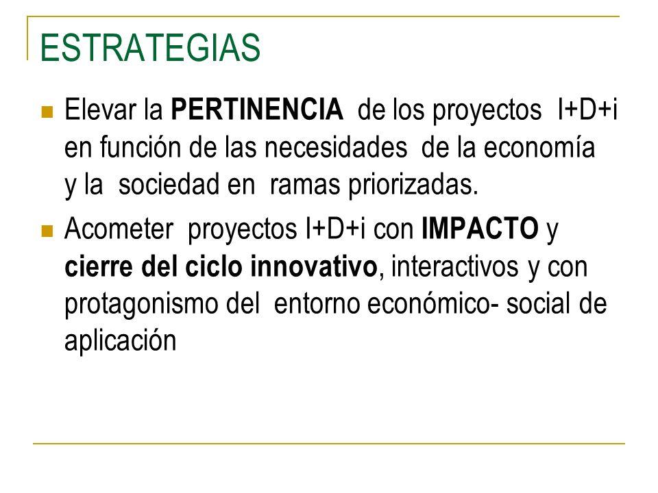 ESTRATEGIAS Elevar la PERTINENCIA de los proyectos I+D+i en función de las necesidades de la economía y la sociedad en ramas priorizadas. Acometer pro