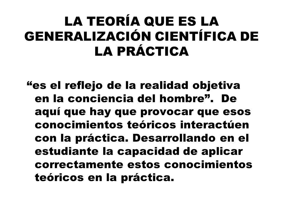 LA TEORÍA QUE ES LA GENERALIZACIÓN CIENTÍFICA DE LA PRÁCTICA es el reflejo de la realidad objetiva en la conciencia del hombre.
