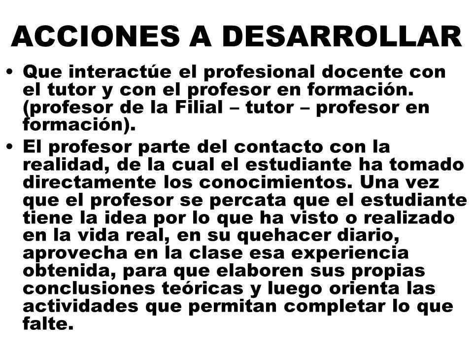ACCIONES A DESARROLLAR Que interactúe el profesional docente con el tutor y con el profesor en formación.