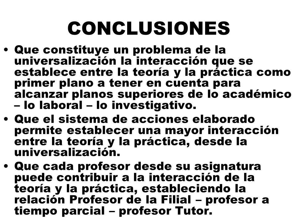 CONCLUSIONES Que constituye un problema de la universalización la interacción que se establece entre la teoría y la práctica como primer plano a tener en cuenta para alcanzar planos superiores de lo académico – lo laboral – lo investigativo.
