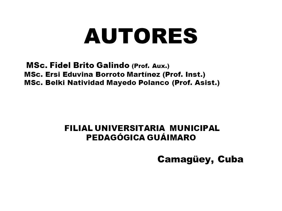 AUTORES MSc. Fidel Brito Galindo (Prof. Aux.) MSc.