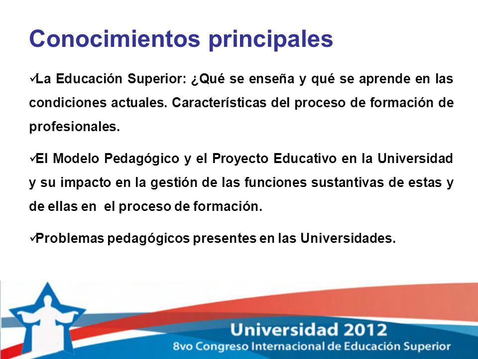 Conocimientos principales La Educación Superior: ¿Qué se enseña y qué se aprende en las condiciones actuales. Características del proceso de formación