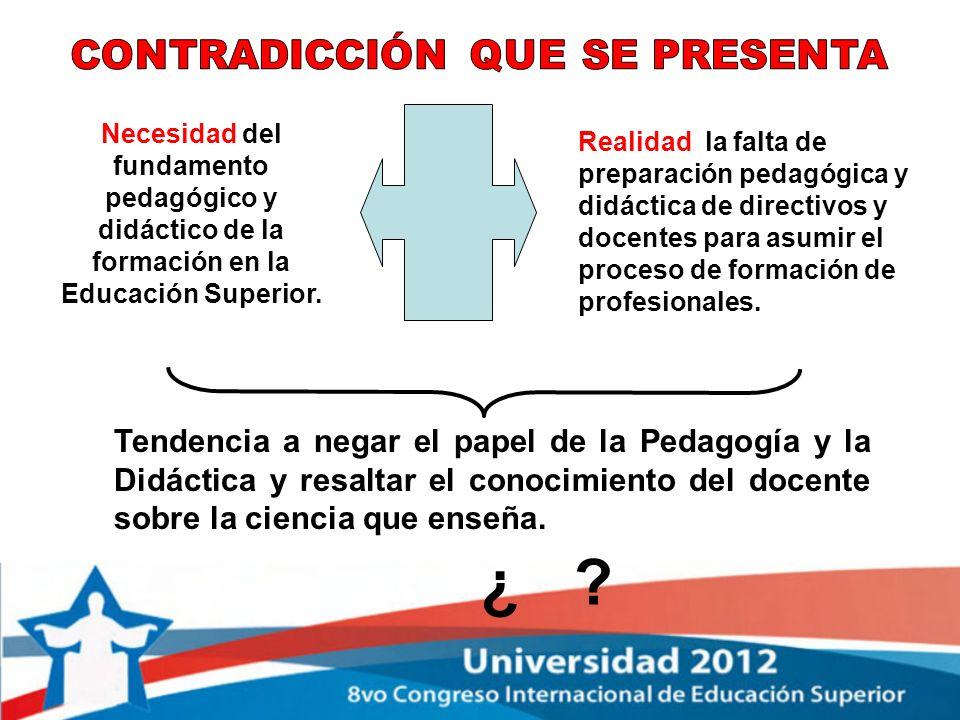Necesidad del fundamento pedagógico y didáctico de la formación en la Educación Superior. Realidad la falta de preparación pedagógica y didáctica de d