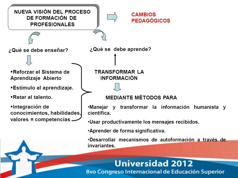 NUEVA VISIÓN DEL PROCESO DE FORMACIÓN DE PROFESIONALES NUEVA VISIÓN DEL PROCESO DE FORMACIÓN DE PROFESIONALES CAMBIOS PEDAGÓGICOS ¿Qué se debe enseñar